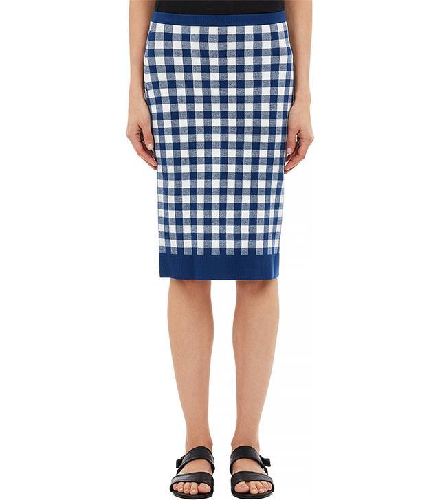 Derek Lam Gingham-Knit Pencil Skirt