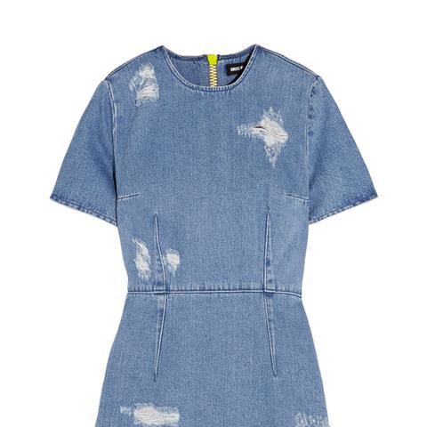 Distressed Denim Mini Dress