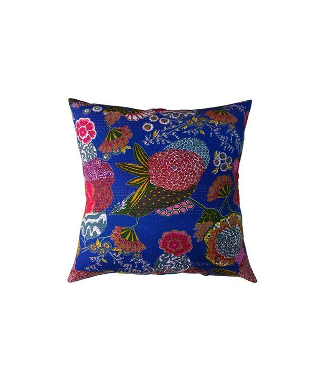 Royal Furnish Blue Indian Kantha Floral Throw