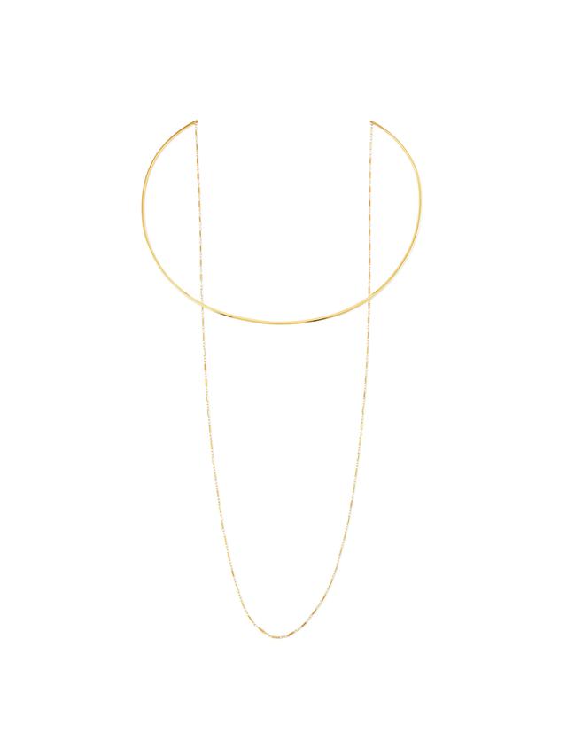 Jennifer Zeuner 14k Gold Vermeil Collar Necklace with Draped Chain
