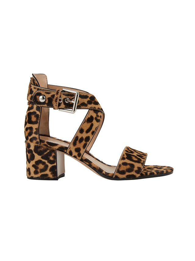 Gianvito Rossi Leopard Crisscross Ankle-Strap Sandals