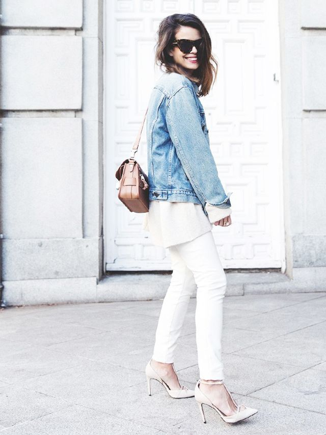 Look #2: Jean Jacket + Chunky Sweater + Skinny Jeans + T-Strap Heels