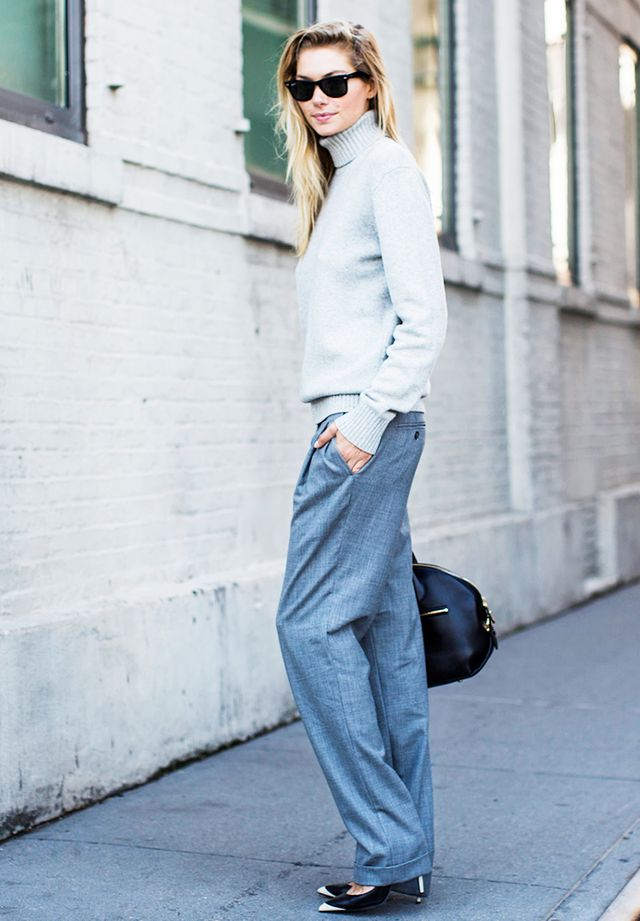 Tip 4: Wear one color from head to toe, just not black. Gray is a lovely option.