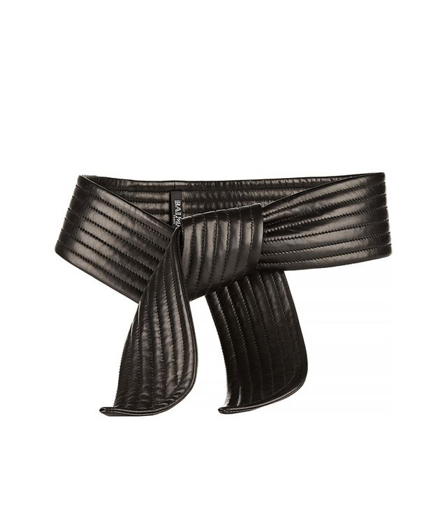 Balmain Ribbed Leather Belt