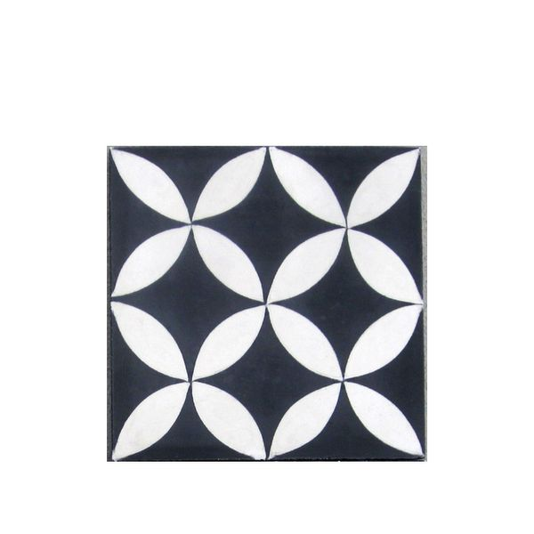 Villa Lagoon Tile Circulos Black and White Cement Tile