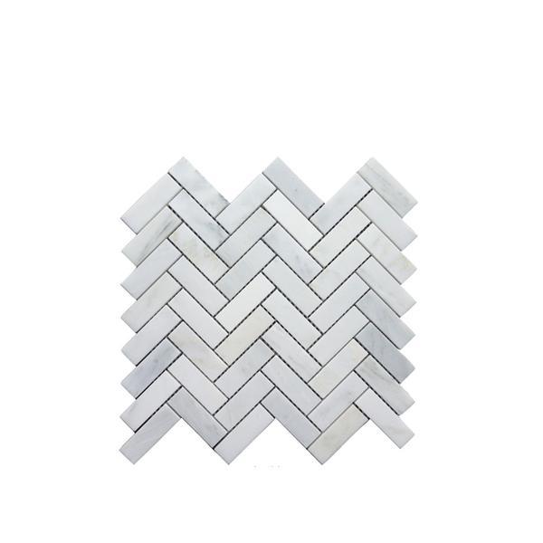 The Builder Dept Carrara Venato Herringbone Tile