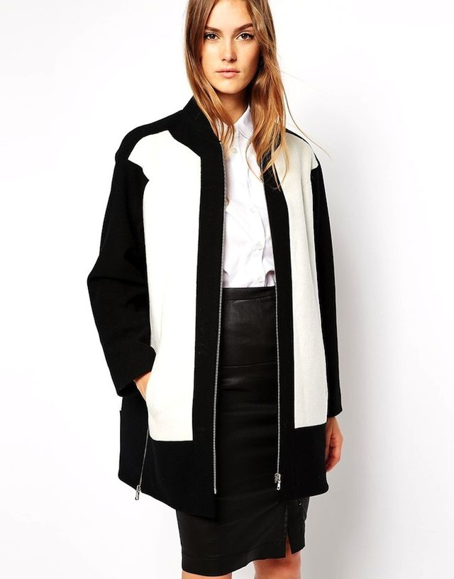 French Connection Coat in Color Block