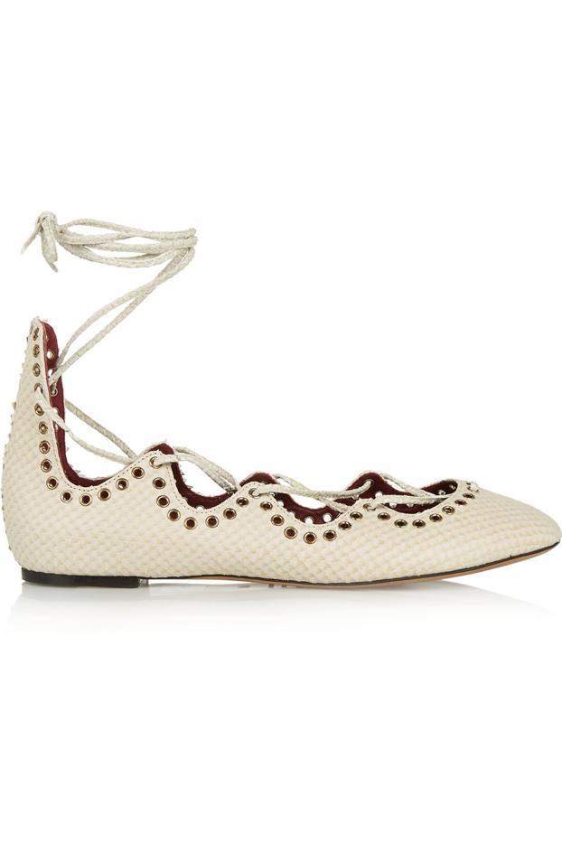 Isabel Marant Leo Snake-Effect Leather Ballet Flats