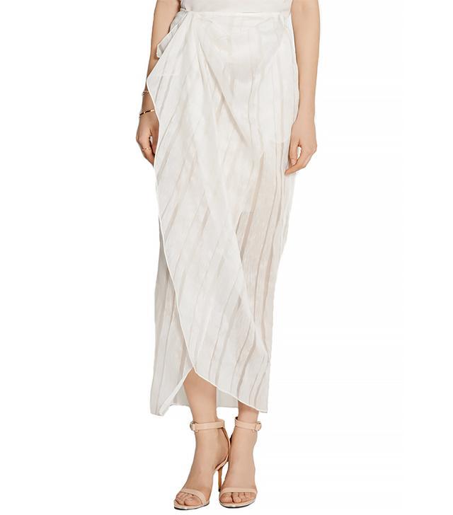Baja East Wrap-Effect Linen and Silk-Blend Maxi Skirt