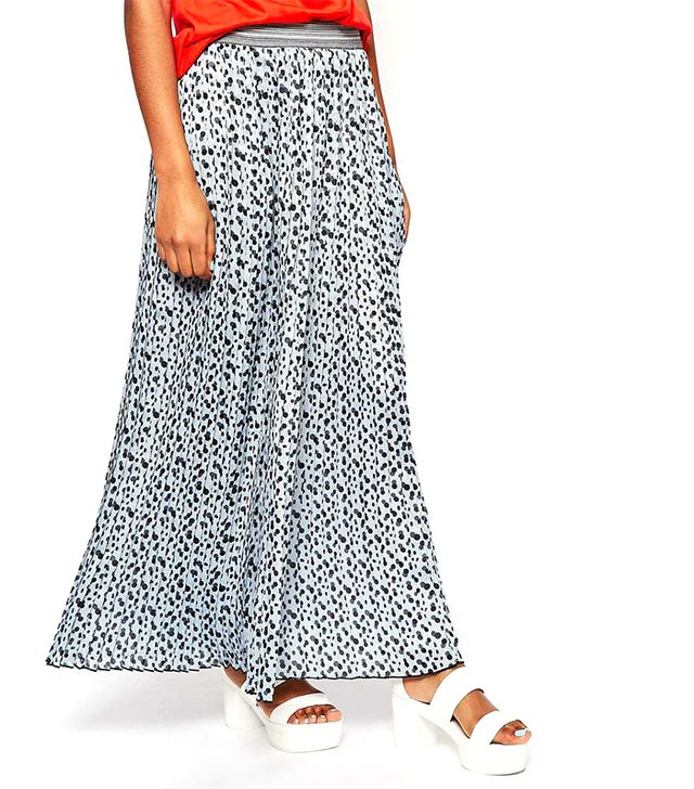 Sportmax Code Maxi Skirt in Polka Dot with Contrast Waistband