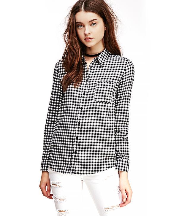 Forever21 Mini-Gingham Flannel Shirt