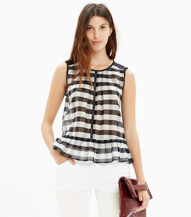 Madewell Shirred Organza Top in Gingham