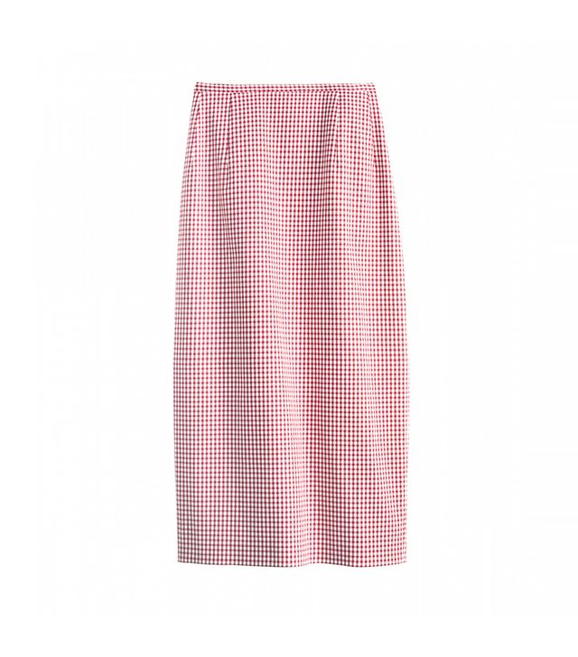 Michael Kors Gingham Stretch Cotton Midi Skirt