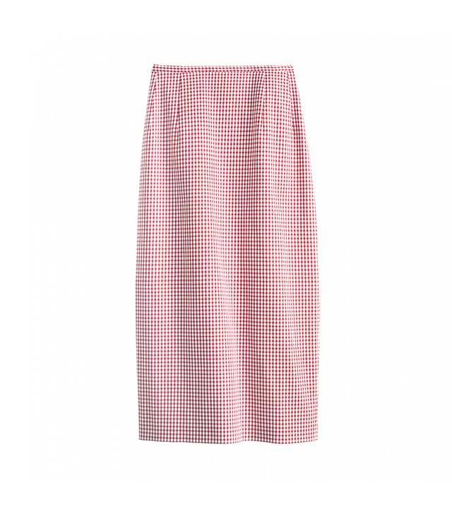 Michael Kors Gingham Stretch Cotton Midi Skirt