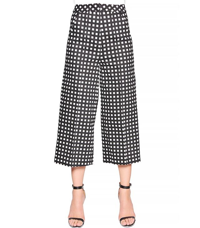 Self-Portrait Gingham Printed Cotton Gabardine Pants