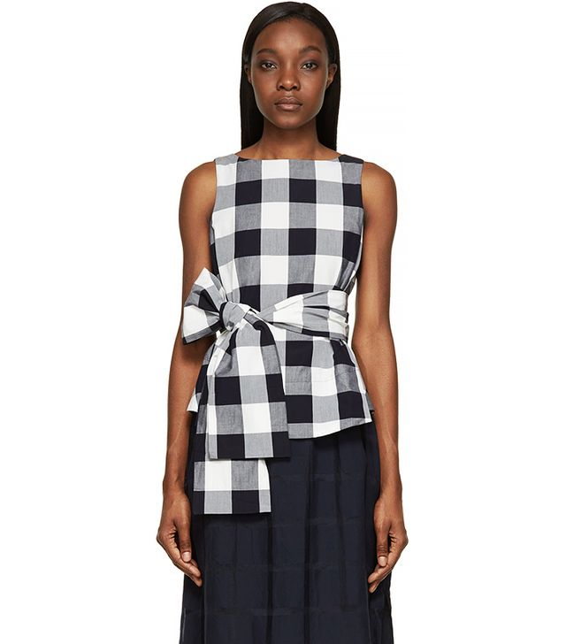 Studio Nicholson White & Navy Gingham Toshima Top