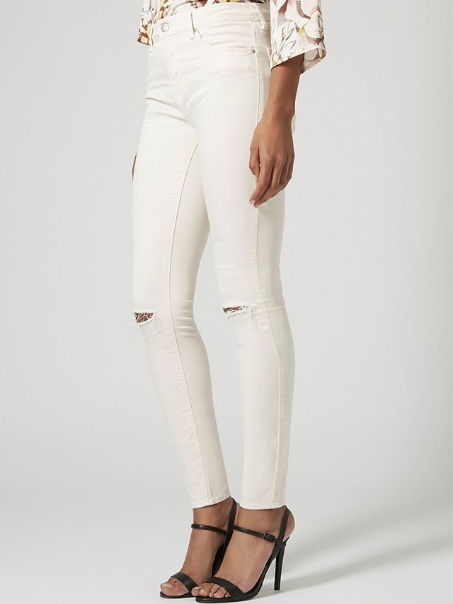 Topshop Moto Winter White Ripped Leigh Jeans
