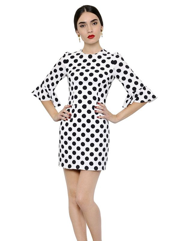 Dolce & Gabbana Polka Dot Printed Viscose Cady Dress