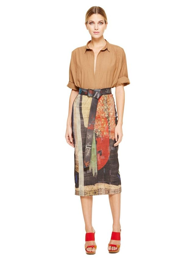 Donna Karan Printed Pull-On Slim Skirt