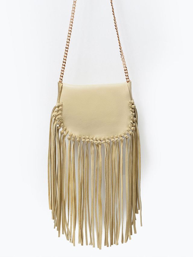 Zara Fringed Leather Messenger Bag