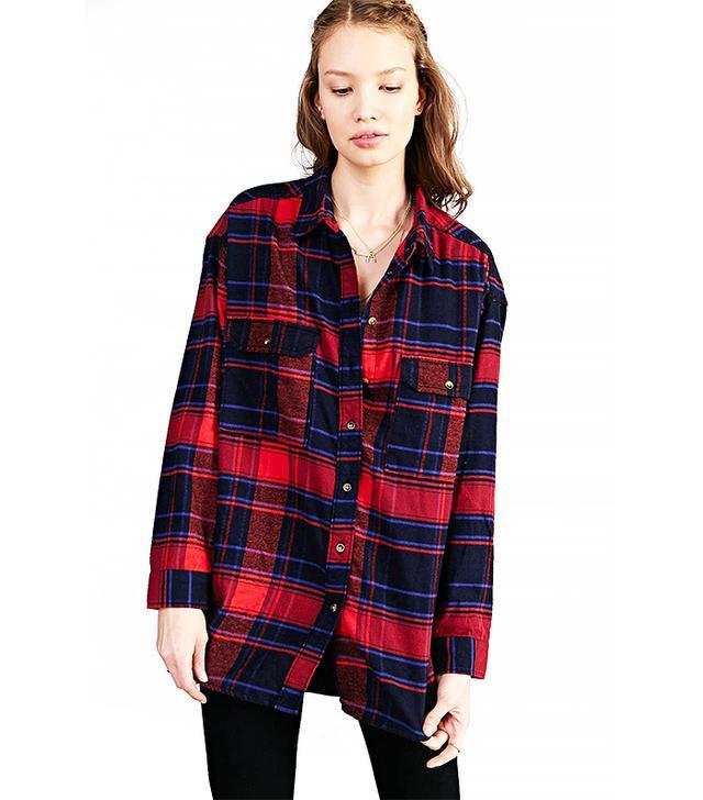 BDG Flannel Curved-Hem Shirt