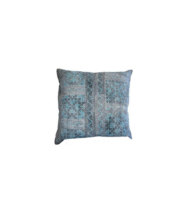 Chairish Hmong Batik Pillow in Turquoise