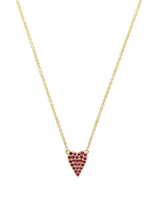 Jennifer Meyer xo Jessica Alba Pave Ruby Heart Pendant Necklace