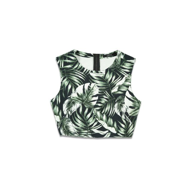 Forever 21 Tropical Print Crop Top