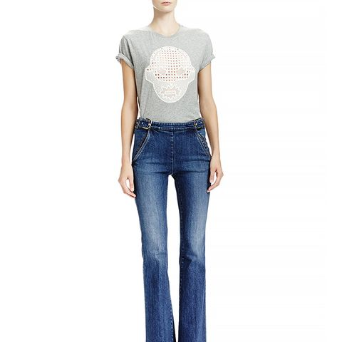 Flare Leg Jeans with Side Buckles