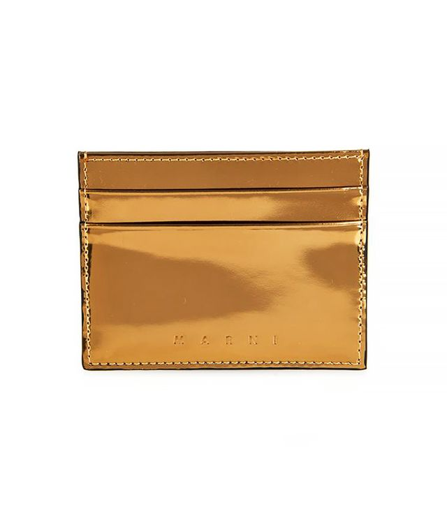 Marni Metallic Leather Card Holder