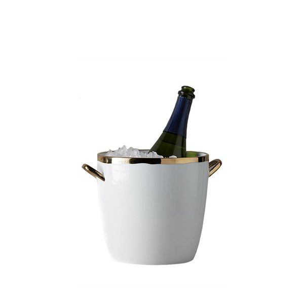 Anthropologie Gold-Rimmed Ice Bucket