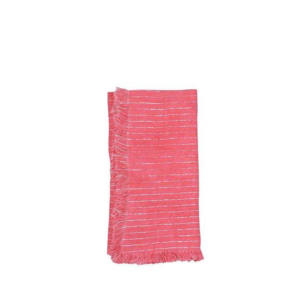 Canvas Home Fringed Edge Linen Napkin with Metallic Stripes