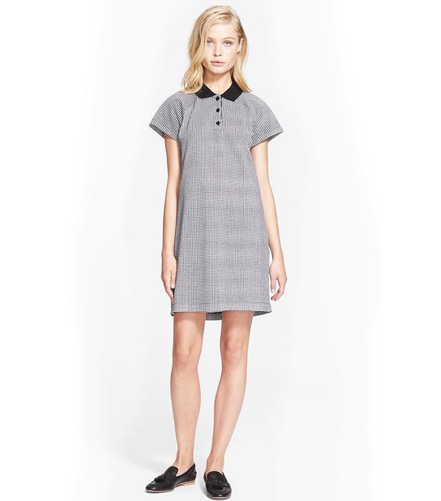 Carven Vichy Piqué Cotton Polo Dress