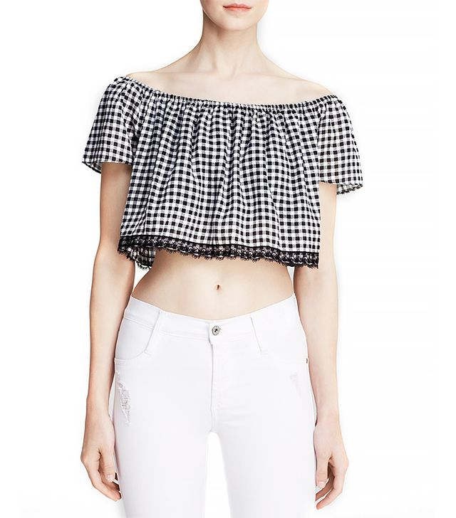 Lucy Paris Off the Shoulder Gingham Top