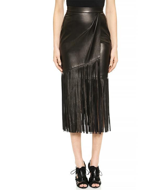 Tamara Mellon Leather Fringe Skirt