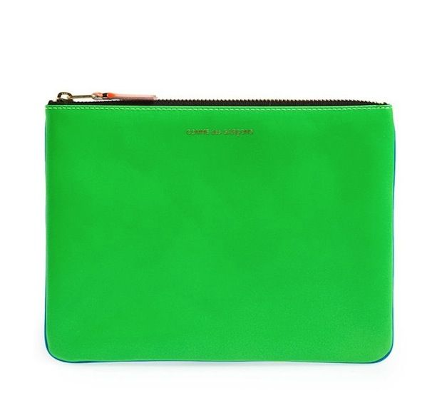 Comme des Garçons Large Super Fluo Leather Zip-Up Pouch