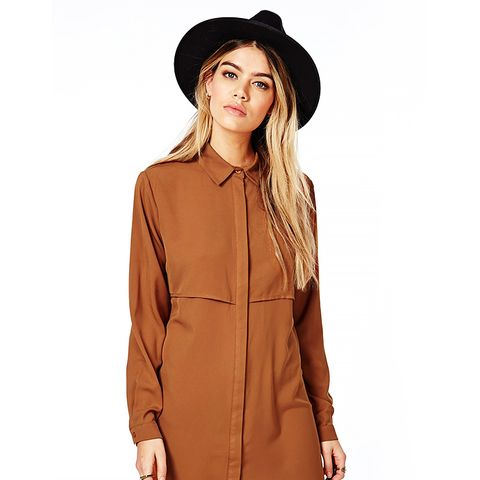 Trench Style Shirt Dress in Tan