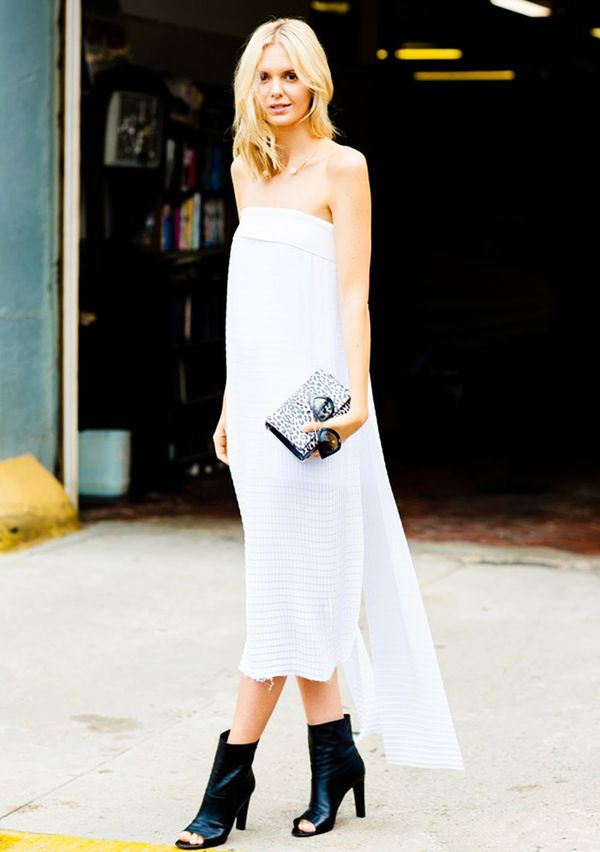 1. Strapless Dress + Animal Print Clutch + Booties
