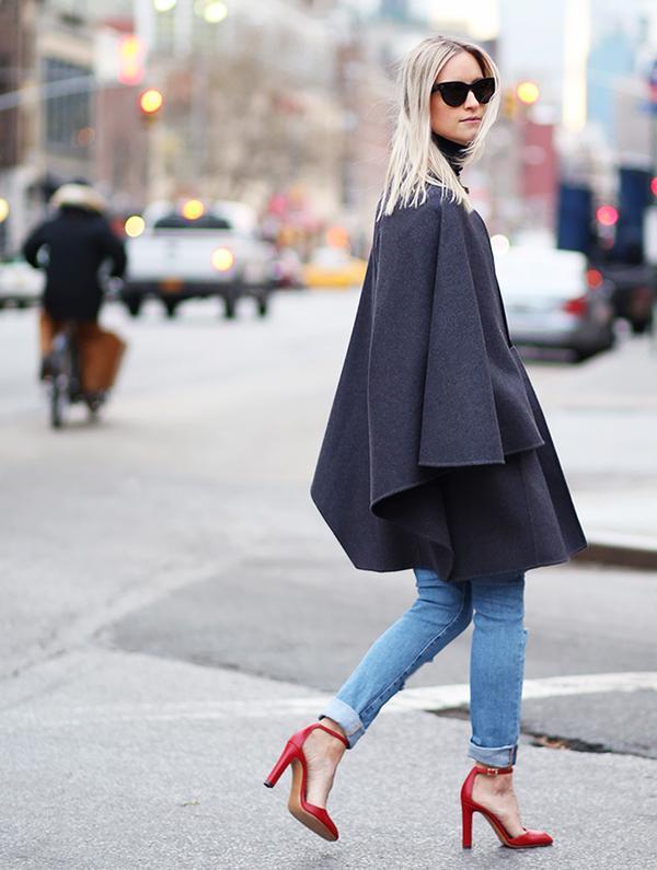 4. Cape + Cuffed Jeans + Red Pumps