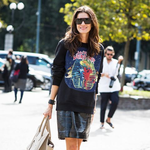 6. Graphic Top + Leather Skirt + Pumps