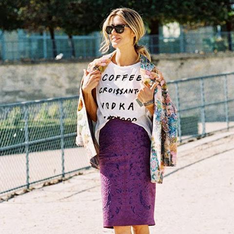 7. Printed Coat + T-Shirt + Lace Skirt