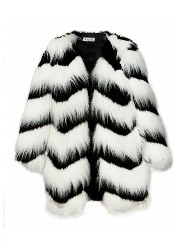Ziggy Black and White Faux Fur Coat