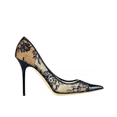Amika Leather-Trimmed Lace Pumps