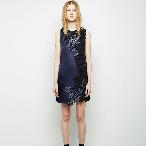 Patchwork Lace Satin Faced Organza Dress
