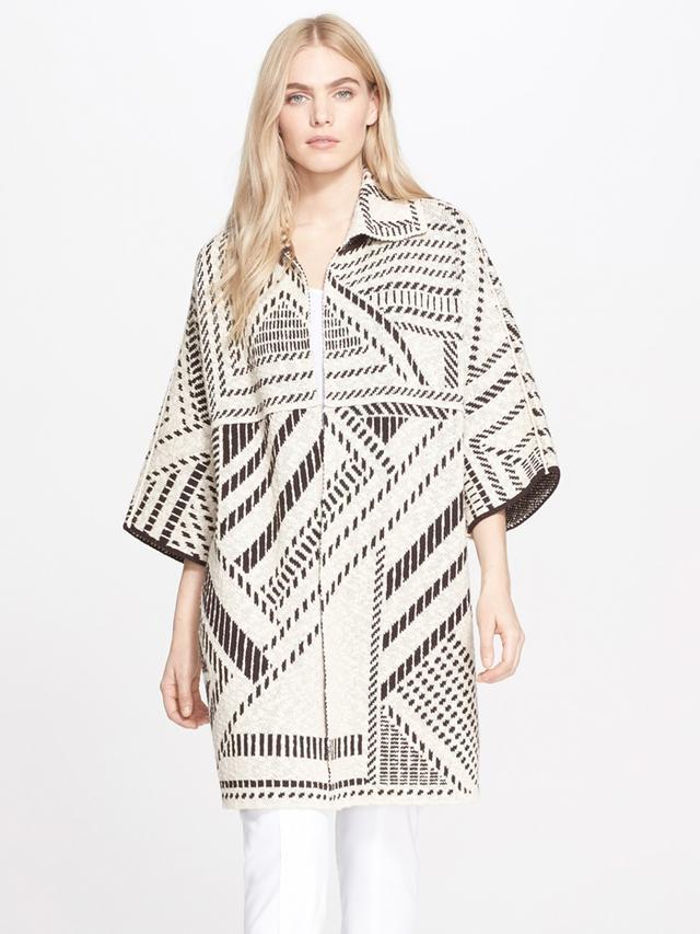 Tory Burch Jacquard Oversize Sweater Coat