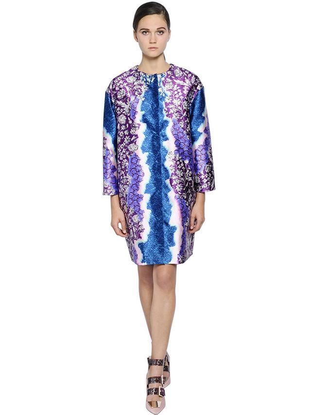 Peter Pilotto Oversized Printed Silk Twill Coat