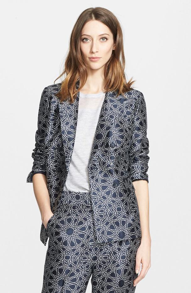 Nordstrom Signature and Caroline Issa Geo Print Wool & Silk Jacket
