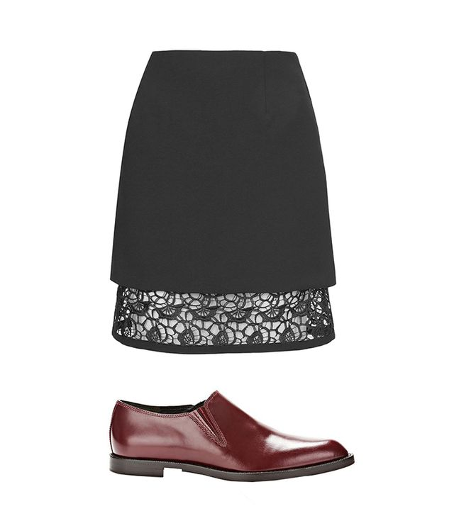 Topshop A-line Overlay Lace Skirt