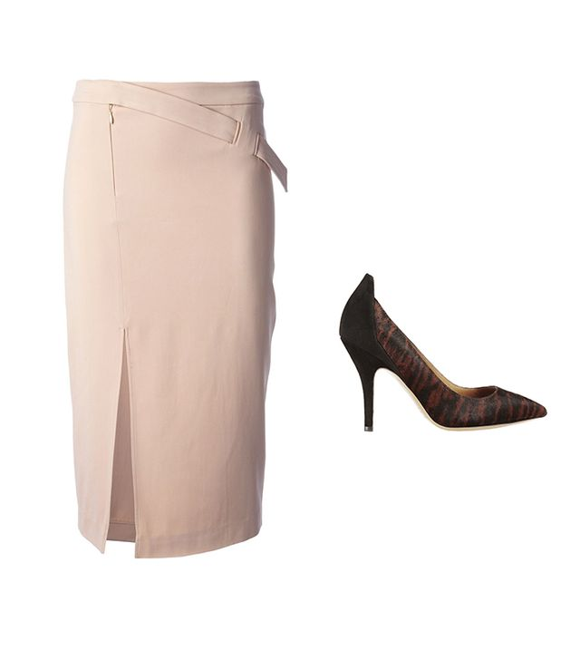 A.L.C. Side Slit Fitted Midi Skirt