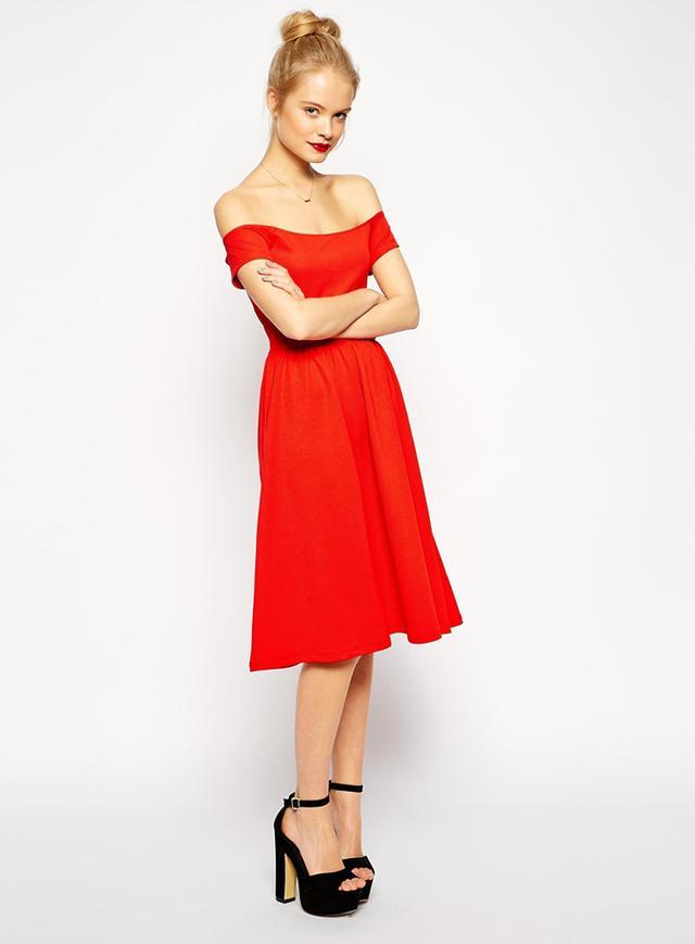 ASOS Midi Bardot Skater Dress in Texture
